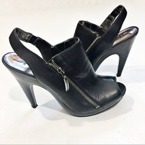 "DKNYC ""ZELDA"" Peep toe Slingback heels Sz  8.5"